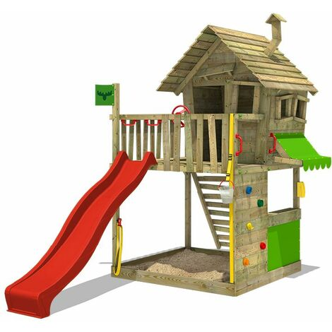 FATMOOSE Wooden climbing frame GroovyGarden with red slide, Playhouse on stilts for kids with sandpit, climbing ladder & play-accessories