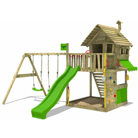 FATMOOSE Wooden climbing frame GroovyGarden with swing set and apple green slide, Playhouse on stilts for kids with sandpit, climbing ladder & play-accessories