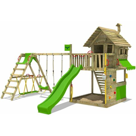 FATMOOSE Wooden climbing frame GroovyGarden with swing set SurfSwing and apple green slide, Playhouse on stilts for kids with sandpit, climbing ladder & play-accessories