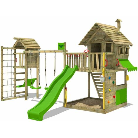 FATMOOSE Wooden climbing frame GroovyGarden with swing set TowerSwing and apple green slide, Playhouse on stilts for kids with sandpit, climbing ladder & play-accessories