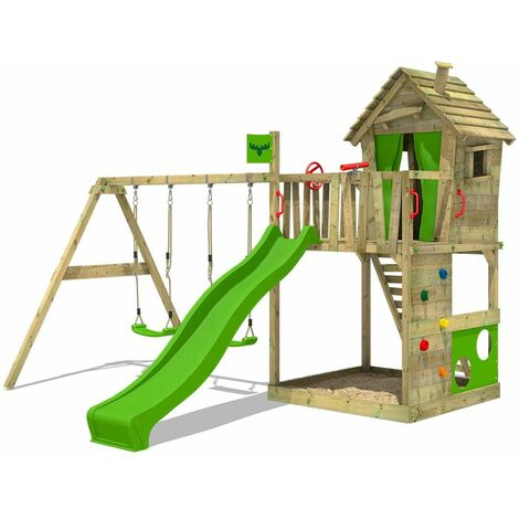 FATMOOSE Wooden climbing frame HappyHome with swing set and apple green slide, Playhouse on stilts for kids with sandpit, climbing ladder & play-accessories