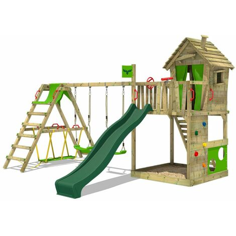 FATMOOSE Wooden climbing frame HappyHome with swing set SurfSwing and green slide, Playhouse on stilts for kids with sandpit, climbing ladder & play-accessories