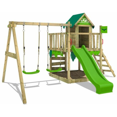 FATMOOSE Wooden climbing frame JazzyJungle with swing set and apple green slide, Playhouse on stilts for kids with sandpit, climbing ladder & play-accessories