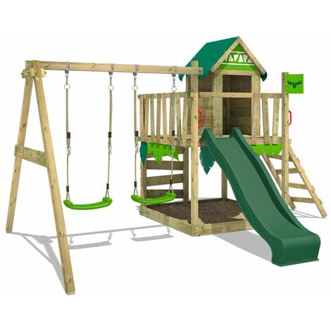 FATMOOSE Wooden climbing frame JazzyJungle with swing set and green slide, Playhouse on stilts for kids with sandpit, climbing ladder & play-accessories