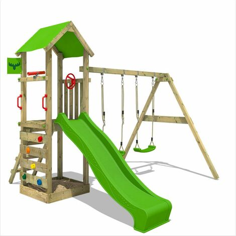 FATMOOSE Wooden climbing frame KiwiKey with swing set and apple green slide, Garden playhouse with sandpit, climbing ladder & play-accessories