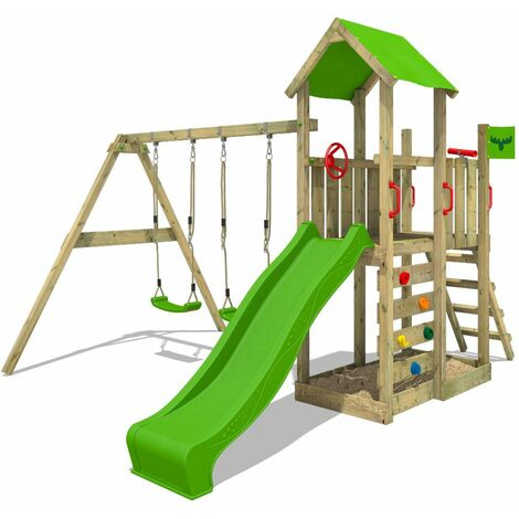 FATMOOSE Wooden climbing frame MagicMango with swing set and apple green slide, Garden playhouse with sandpit, climbing ladder & play-accessories
