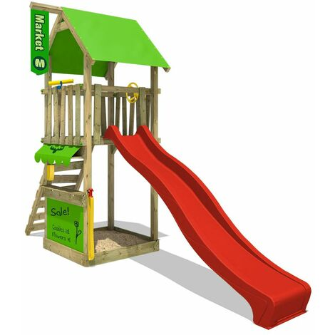 FATMOOSE Wooden climbing frame MagicMarket with red slide, Garden playhouse with sandpit, climbing ladder & play-accessories