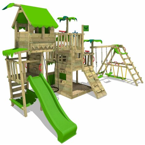 FATMOOSE Wooden climbing frame PacificPearl with swing set SurfSwing and apple green slide, Playhouse on stilts for kids with sandpit, climbing ladder & play-accessories