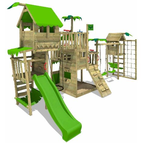 FATMOOSE Wooden climbing frame PacificPearl with swing set TowerSwing and apple green slide, Playhouse on stilts for kids with sandpit, climbing ladder & play-accessories