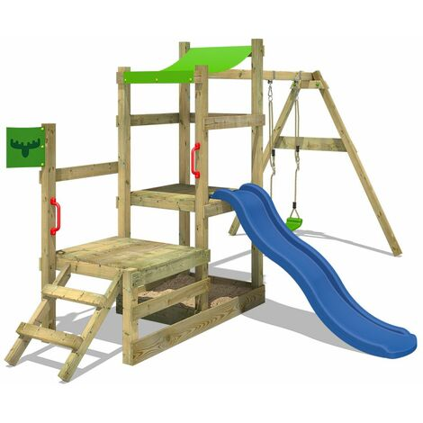 FATMOOSE Wooden climbing frame RabbitRally with swing set and blue slide, Garden playhouse with sandpit, climbing ladder & play-accessories