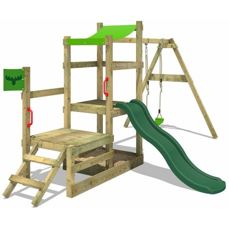 FATMOOSE Wooden climbing frame RabbitRally with swing set and green slide, Garden playhouse with sandpit, climbing ladder & play-accessories