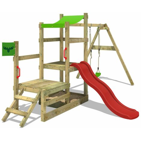 FATMOOSE Wooden climbing frame RabbitRally with swing set and red slide, Garden playhouse with sandpit, climbing ladder & play-accessories