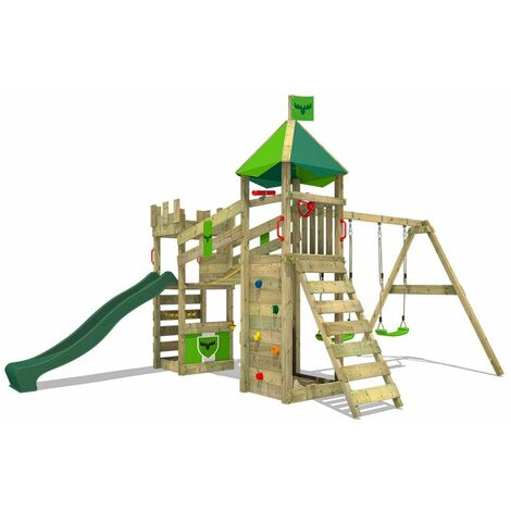"""main image of """"FATMOOSE Wooden climbing frame RiverRun with swing set and green slide, Knight's playhouse with sandpit, climbing ladder & play-accessories"""""""