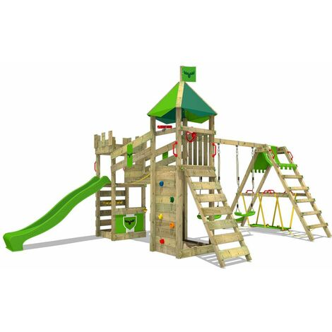 FATMOOSE Wooden climbing frame RiverRun with swing set SurfSwing and apple green slide, Knight's playhouse with sandpit, climbing ladder & play-accessories