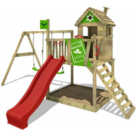 FATMOOSE Wooden climbing frame RockyRanch with swing set and red slide, Playhouse on stilts for kids with sandpit, climbing ladder & play-accessories