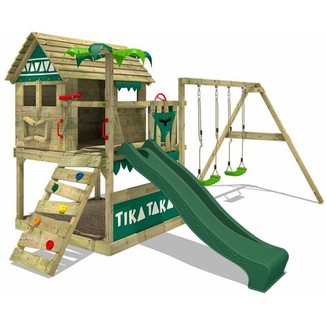 FATMOOSE Wooden climbing frame TikaTaka with swing set and green slide, Playhouse on stilts for kids with sandpit, climbing ladder & play-accessories