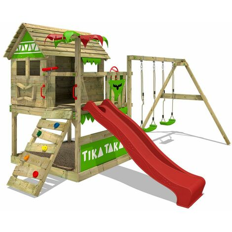 FATMOOSE Wooden climbing frame TikaTaka with swing set and red slide, Playhouse on stilts for kids with sandpit, climbing ladder & play-accessories
