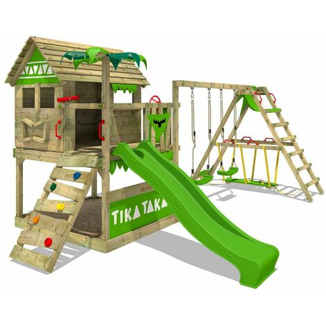 FATMOOSE Wooden climbing frame TikaTaka with swing set SurfSwing and apple green slide, Playhouse on stilts for kids with sandpit, climbing ladder & play-accessories