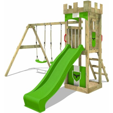 FATMOOSE Wooden climbing frame TreasureTower with swing set and apple green slide, Garden playhouse with sandpit, climbing ladder & play-accessories