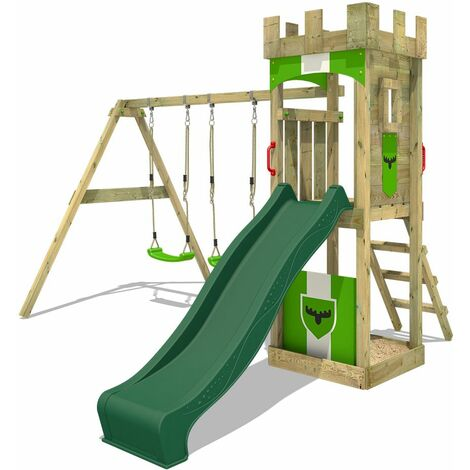 FATMOOSE Wooden climbing frame TreasureTower with swing set and green slide, Garden playhouse with sandpit, climbing ladder & play-accessories