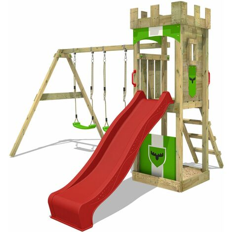 FATMOOSE Wooden climbing frame TreasureTower with swing set and red slide, Garden playhouse with sandpit, climbing ladder & play-accessories