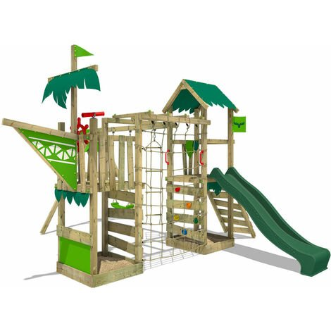 FATMOOSE Wooden climbing frame WaterWorld with swing set and green slide, Playhouse on stilts for kids with sandpit, climbing ladder & play-accessories