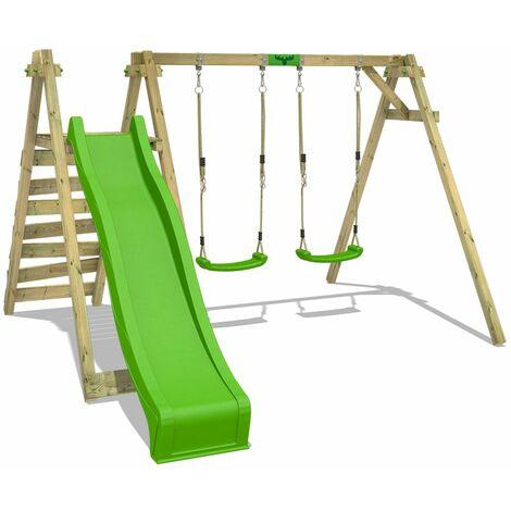 FATMOOSE Wooden swing set JollyJay with apple green slide Children\'s swing