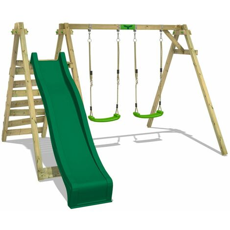 FATMOOSE Wooden swing set JollyJay with green slide Children's swing