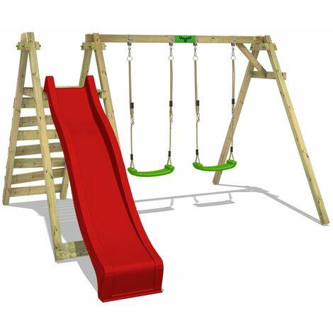 FATMOOSE Wooden swing set JollyJay with red slide Children's swing