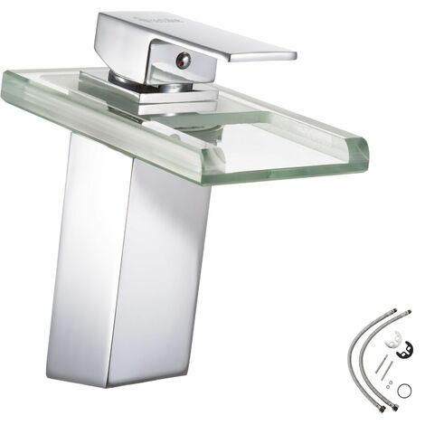Faucet 3-colour changing waterfall - bathroom sink tap, faucet tap, bath and sink tap - grey