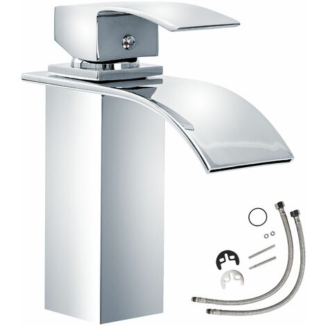 Faucet curved waterfall tap - bathroom sink tap, faucet tap, bath and sink tap - gris