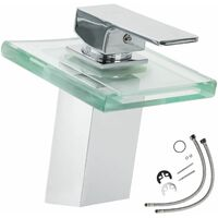 Faucet glass rectangular waterfall tap - bathroom sink tap, faucet tap, bath and sink tap - grey