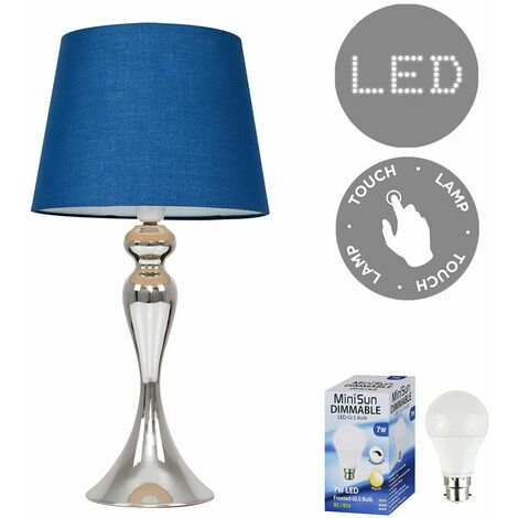 Faulkner Touch Table Lamp in Chrome with LED Bulb - Blue
