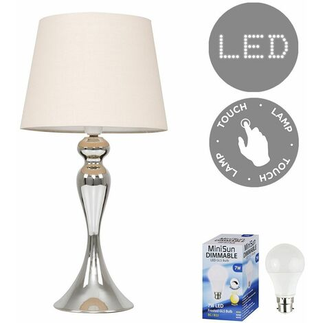 Faulkner Touch Table Lamp in Chrome with LED Bulb - Beige - Silver