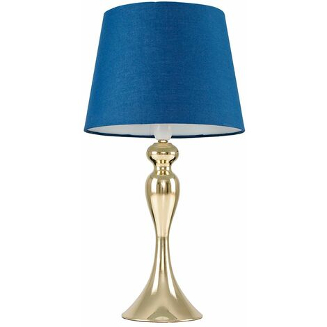 Faulkner Touch table Lamp in Gold With Tapered Shade - White