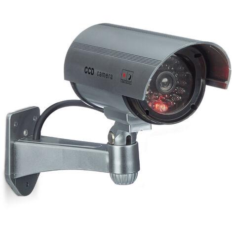 Fausse caméra de surveillance intérieur extérieur caméra factice lampe LED murale sécurité cambrioleur voleur, grise