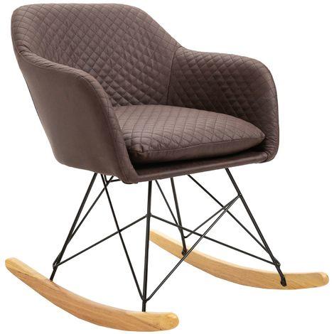 Fauteuil à bascule ADELANO rocking chair relax avec coussin et accoudoirs design scandinave pieds en bois chaise en tissu brun foncé
