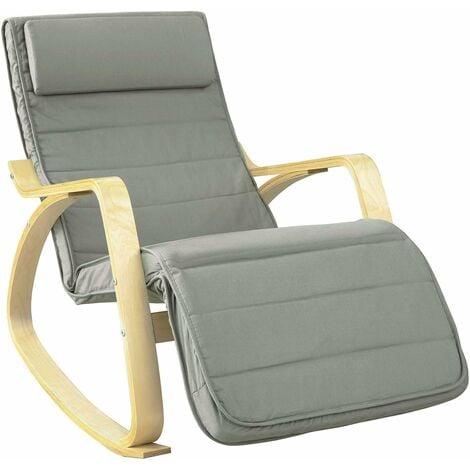 Fauteuil à Bascule avec Repose-Pied Réglable Design Rocking Chair Fauteuil Relax Bouleau Flexible (Gris) FST16-DG SoBuy®
