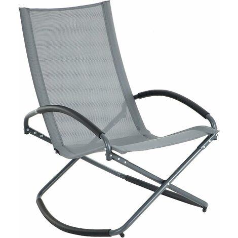 Fauteuil à Bascule, Chaise basculante, Chaise Longue, Bain de Soleil, Cadre en Fer, Tissu Respirant, Confortable, Charge 150 kg, Noir/Gris