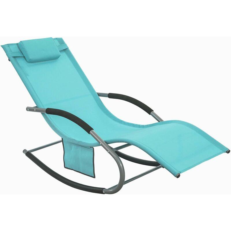 Fauteuil à bascule Chaise longue Transat de jardin avec repose-pieds et 1 pochette latérale, Bain de soleil Rocking Chair - Turquoise SoBuy® OGS28-HB