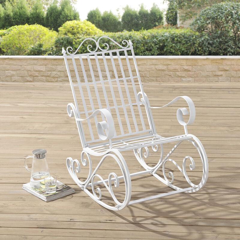 Fauteuil à Bascule de Jardin Vintage Robuste Meuble Design pour Usage Extérieur Métal 92 x 59 x 90 cm Blanc