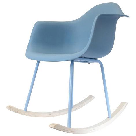 Fauteuil à bascule en métal / PP coloris bleu - 73 x 68 x 63 cm