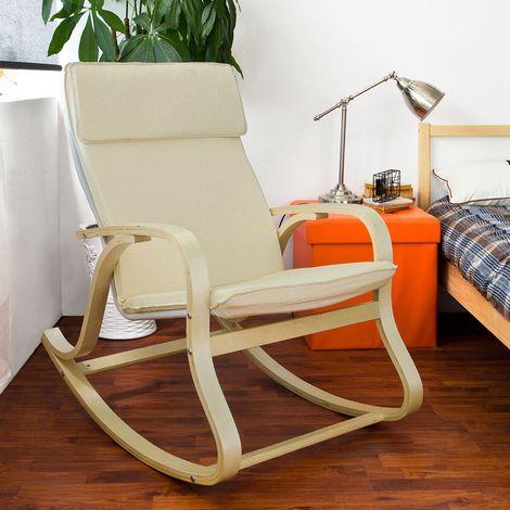 Fauteuil à bascule, Fauteuil berçant, Rocking Chair, Fauteuil relax, Bouleau Flexible -Beige FST15-W SoBuy®
