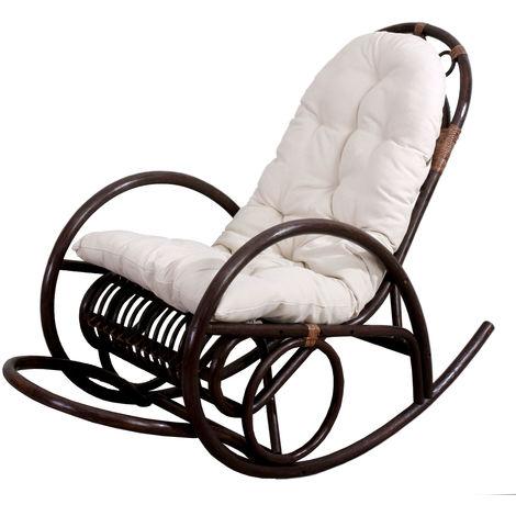Fauteuil à bascule HHG-648, rocking-chair, fauteuil en rotin, marron ~ coussin marron