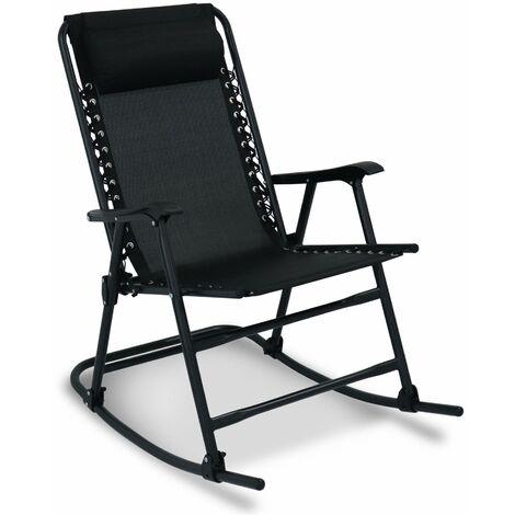 Fauteuil à bascule – JACKY – Fauteuil design, rocking chair, pliable, noir