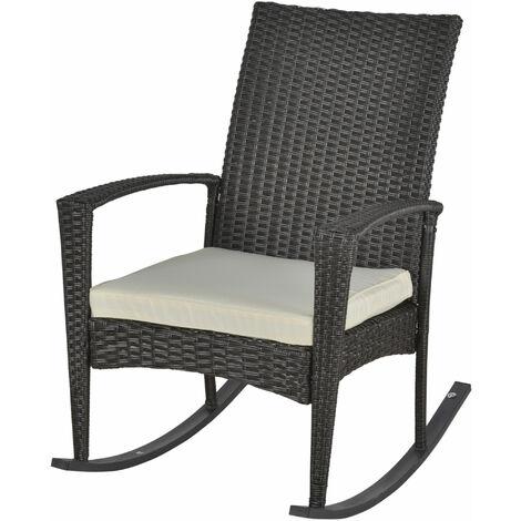 Fauteuil à bascule rocking chair avec coussin d'assise déhoussable 66L x 88l x 98H cm résine tressée imitation rotin chocolat