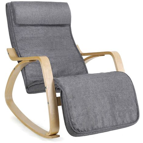 Fauteuil à Bascule, Rocking Chair, avec Repose-Pied, Réglable en 5 Niveaux, Charge Max 150 kg, Gris LYY11G