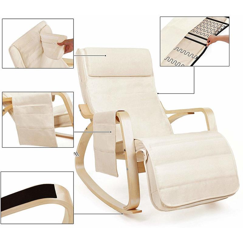 Fauteuil A Bascule Rocking Chair Avec Repose Pieds Reglable A 5