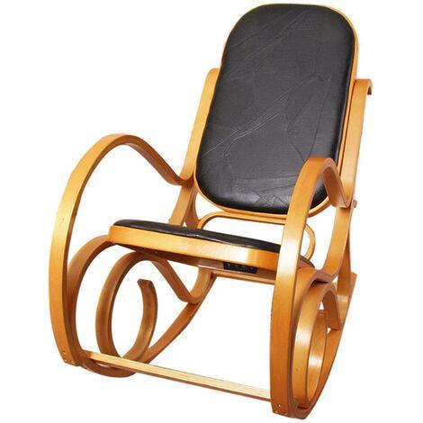 Fauteuil à bascule rocking chair en bois clair assise en cuir noir - noir