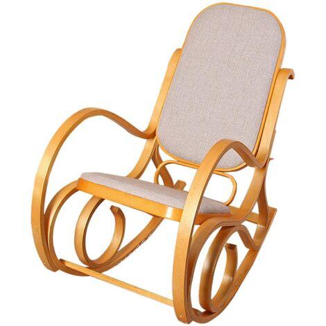 Fauteuil à bascule rocking chair en bois clair assise en tissu beige - Beige
